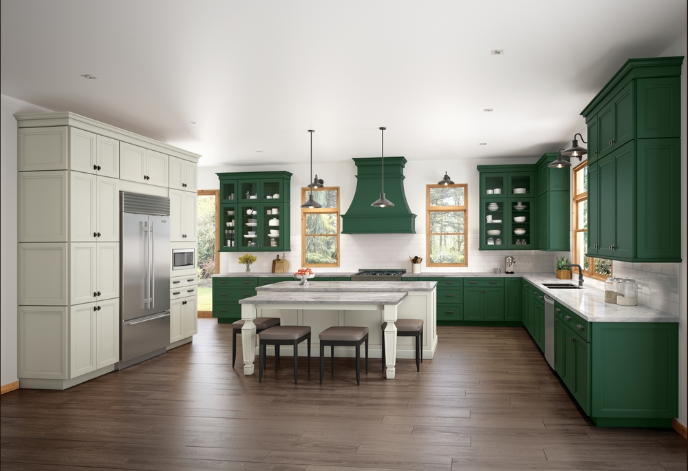 Green cabinets can add a pop of color to your kitchen