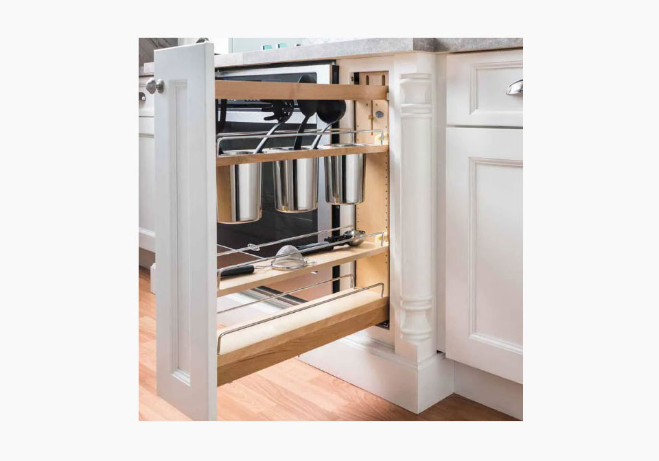 kitchen storage pullouts available at Swartz Kitchens and Baths