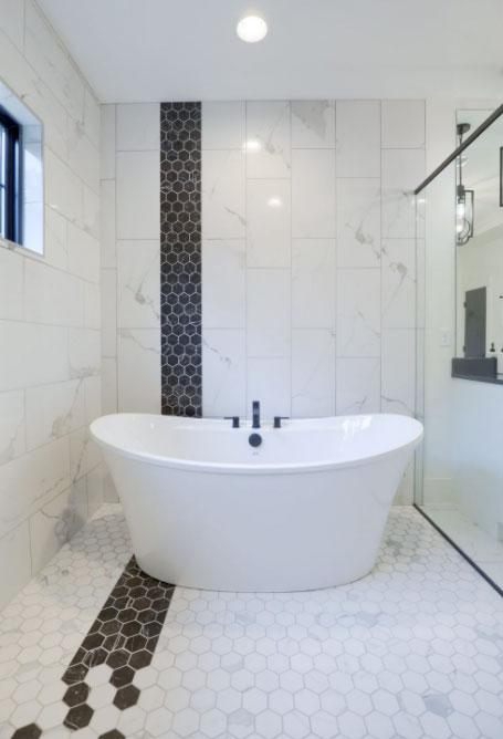 Trendy master bath with soaking tub inside shower