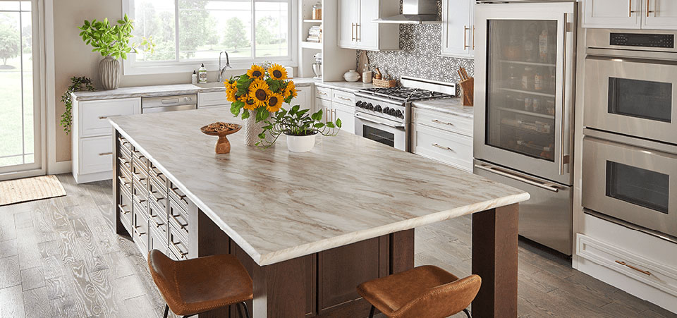 Laminate surfaces available at Swartz Kitchens and Baths
